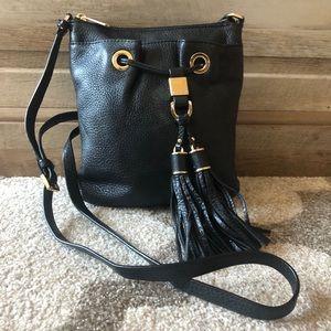 Michel Kors Leather Tassel Crossbody Bucket Bag